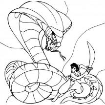 Coloriage Aladdin et le serpent