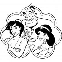 Coloriage Aladdin, Abu, le Génie et Jasmine