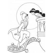 Coloriage Aladdin et Jasmine au clair de lune