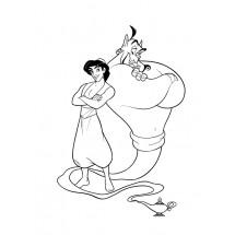Coloriage Aladdin et le génie