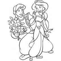 Coloriage Aladdin offre des fleurs à Jasmine