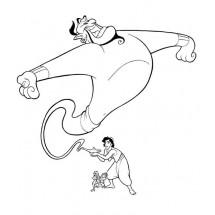 Coloriage Le génie, Abu et Aladdin