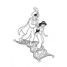 Coloriage Aladdin et Jasmine sur le tapis magique