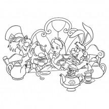 Coloriage Alice boit du thé avec ses amis