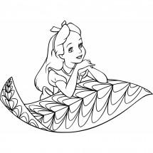 Coloriage Alice sur une feuille