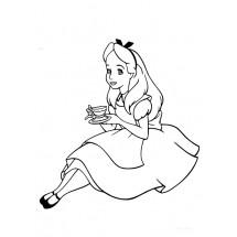 Coloriage Alice boit du thé