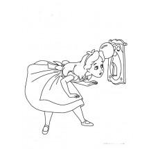 Coloriage Alice et la poignée de porte