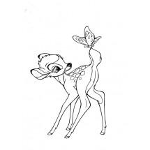 Coloriage Bambi et un papillon