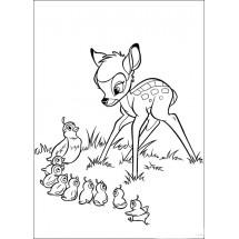 Coloriage Bambi et les oiseaux