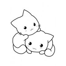 Coloriage Deux petit chats