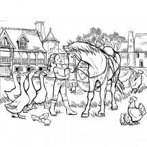 Coloriage Cheval à la ferme