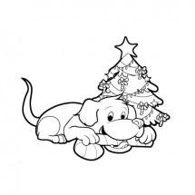 Coloriage Chien à Noël