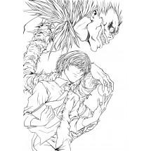 Coloriage Yagami Light et Ryûk
