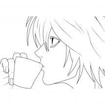 Coloriage L boit un café