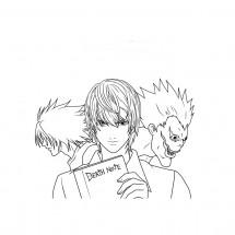 Coloriage L, Yagami et Ryûk