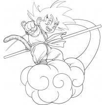 Coloriage Son Goku sur son nuage
