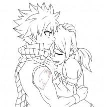 Coloriage Natsu et Lucy