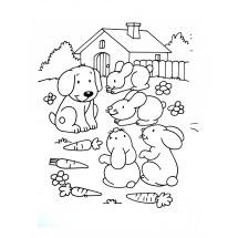 Coloriage Lapins et un chien