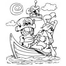 Coloriage Garfield et Odie les pirates