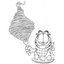 Coloriage Garfield mange des nouilles
