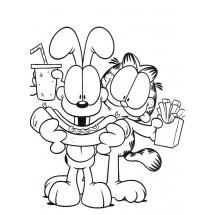 Coloriage Garfield et Odie mangent