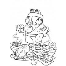 Coloriage Garfield mange #2
