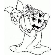 Coloriage Porcinet fête Halloween