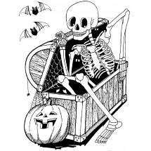 Coloriage Un squelette d'Halloween
