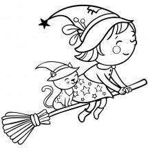 Coloriage Une gentille sorcière et son chat