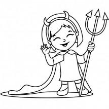 Coloriage Petite fille déguisée en vampire