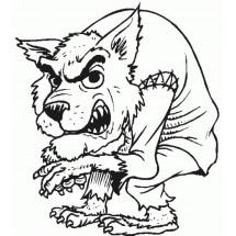 Coloriage Un loup Garou pas commode