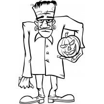 Coloriage Frankenstein et sa citrouille