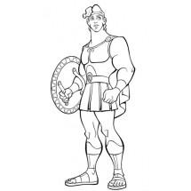Coloriage Hercule avec un bouclier