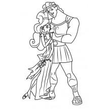 Coloriage Mégara et Hercule