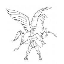 Coloriage Pégase et Hercule