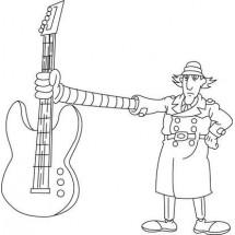 Coloriage Inspecteur Gadget et sa guitare