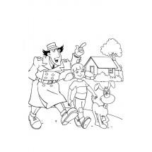 Coloriage Inspecteur Gadget, Sophie et Finot #2