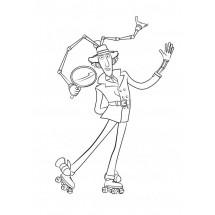 Coloriage Inspecteur Gadget sur ses rollers