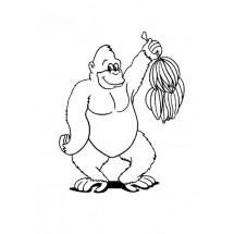 Coloriage Gorille et son régime de bananes