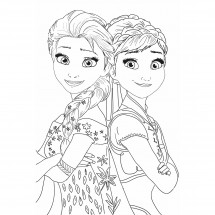 Coloriage Elsa et Anna
