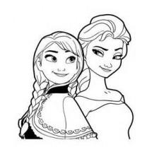 Coloriage Elsa et Anna #2