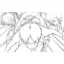 Coloriage Armin, Eren et Mikasa