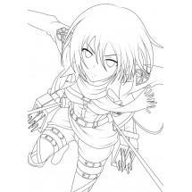 Coloriage Mikasa Ackerman