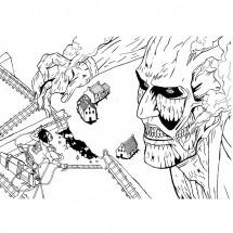 Coloriage Eren Jäger contre le titan colossal