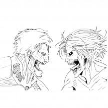 Coloriage Reiner et Eren sous leur forme de titans