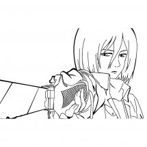 Coloriage Mikasa Ackerman #3