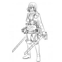 Coloriage Mikasa est prête à se battre