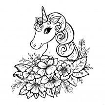 Coloriage Licorne avec des fleurs
