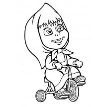 Coloriage Masha fait du vélo