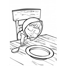 Coloriage Masha dort à table